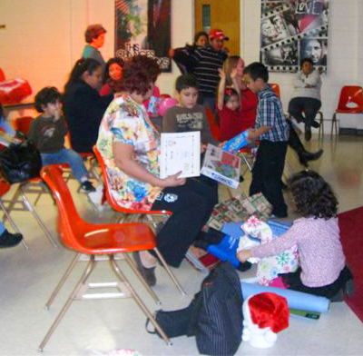 More gift-giving with children and families at a Parent Support Group. Such smiles and joy!